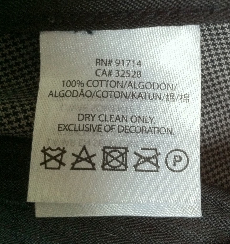 Dry Clean Only Label